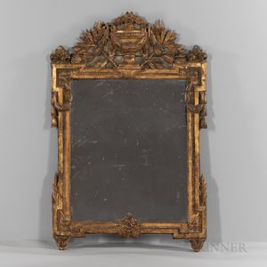 Neoclassical-style Carved and Gilt Wood Mirror