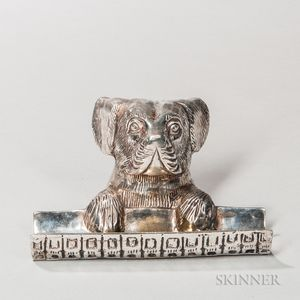 Silvered Dog-form Pen Tray