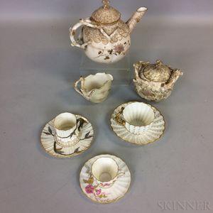 Nine Ott & Brewer Beleek Porcelain Teaware Items.
