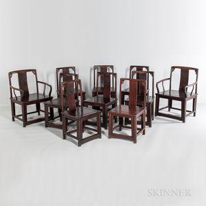 Set of Ten Hardwood Dining Chairs