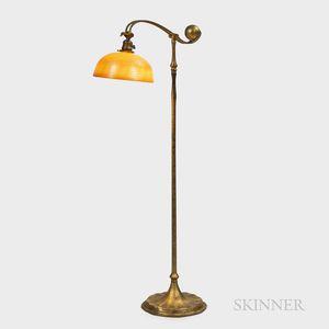 Tiffany Studios Counterbalance Floor Lamp with Damascene Shade