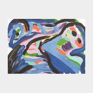 Karel Appel (Dutch/American, b. 1921)  Floating in a Landscape