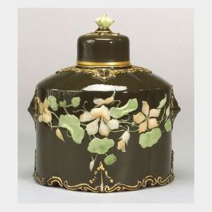 Locke and Co. Worcester Porcelain Pate-sur-Pate Tea Canister and Cover