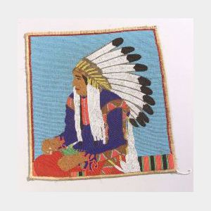 Pictorial Beaded Cloth Panel