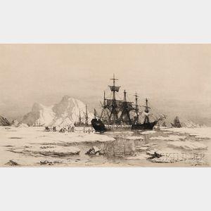 William Bradford (American, 1823-1892)      Arctic Explorers Cutting a Channel