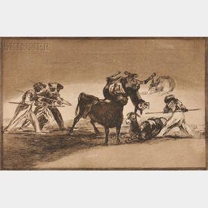 Francisco José de Goya y Lucientes (Spanish, 1746-1828)      The Moors Use Donkeys as a Barrier Against the Bull