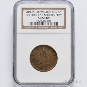 Undated Washington Double Head Cent, NGC AU55 BN.