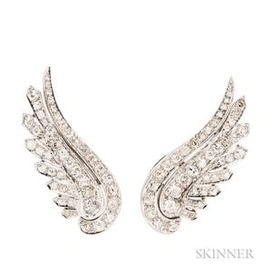 Platinum and Diamond Wing Earclips