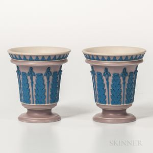 Pair of Wedgwood Stoneware Vases and Covers