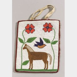 Plateau Pictorial Beaded Cloth Bag
