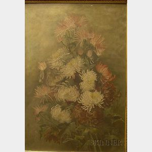 Framed 19th Century American School Oil on Canvas Still Life with Chrysanthemums