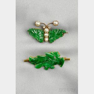 Two Gold and Jadeite Figural Pins
