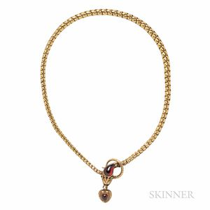 Victorian Gold and Garnet Snake Necklace