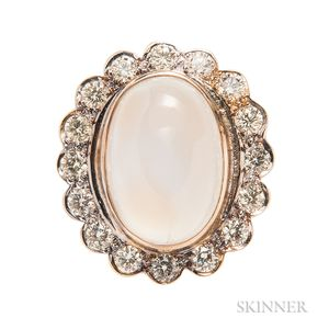 18kt Gold, Moonstone, and Diamond Ring