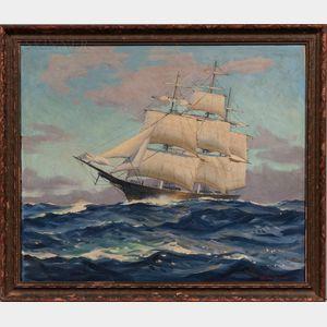 Macivor Reddie (American, 1899-1966)      Ship at Full Sail