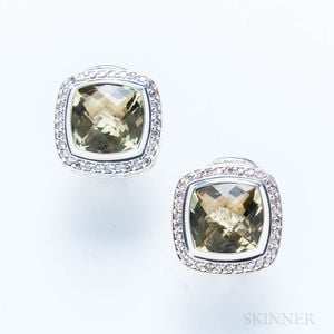 """David Yurman Sterling Silver, 18kt Gold, and Green Stone """"Albion"""" Earrings"""