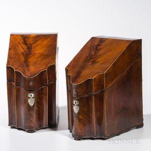 Pair of Mahogany Veneer Cutlery Boxes