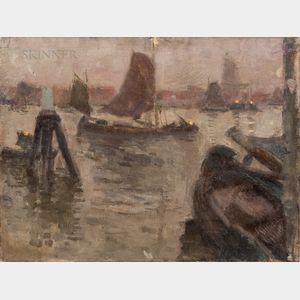 Eugène Laurent Vail (American/French, 1857-1934)      Soir de Novembre, Dordrecht