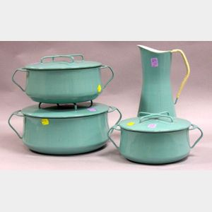 Dansk Designs Enamelware Pitcher and Three Covered Cooking Pots