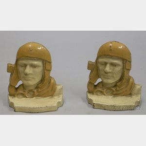 Pair of Painted Metal Charles Lindbergh Bookends