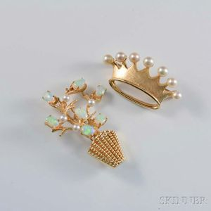 Two 14kt Gold and Pearl Brooches
