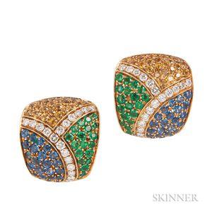 Sapphire, Emerald, and Diamond Earclips