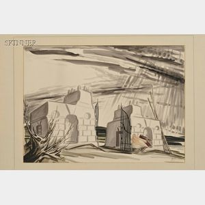James Reynolds (Irish, b. 1891)    Figures at Ruins/A View of Sligo, Ireland