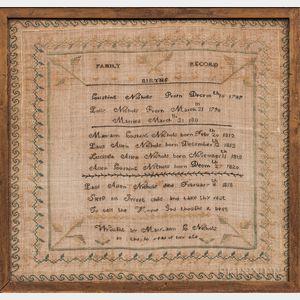 Needlework Nichols Family Record