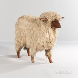 Carved and Applied Wool Sheep Figure