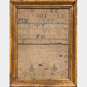 """Needlework """"Ann Cook 1718"""" Sampler"""