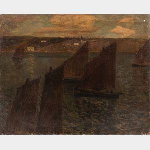 Eugène Laurent Vail (American/French, 1857-1934)      Venetian Sailboats