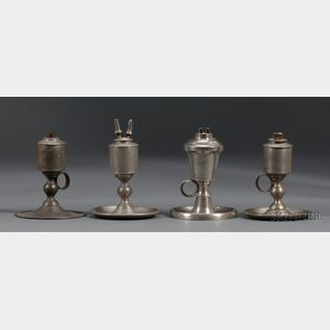 Four Pewter Chamber Lamps