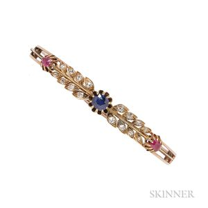 Antique Gold, Sapphire, and Ruby Bracelet