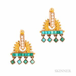 Antique Gold and Turquoise Earrings
