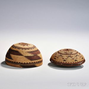 Two Northern California Twined Basketry Hats