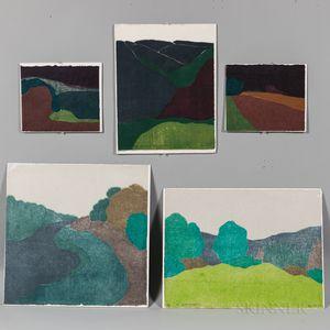 Five Richard Kemble (American, 1932-2007) Woodcuts