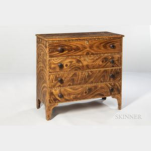 Grain-painted Chest of Four Drawers