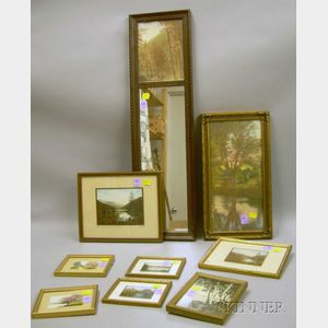 Seven Small Framed Charles Sawyer and Two David Davidson Hand-colored Photographic Prints.
