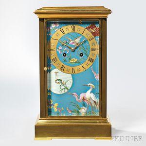 Brass and Porcelain Panel Shelf Clock