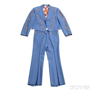 Little Jimmy Dickens     Blue and Orange Nudie Suit, Hat and Boots