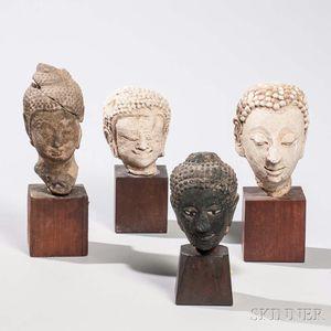 Four Fragmentary Buddhist Heads
