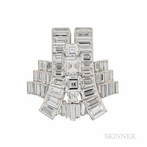 Cartier Platinum and Diamond Clip Brooch