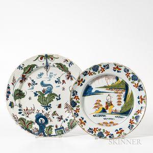 Two Polychrome Decorated English Tin-glazed Earthenware Plates