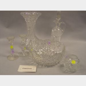 Twelve Colorless Cut Glass Table Items