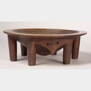Polynesian Carved Wood Kava Bowl