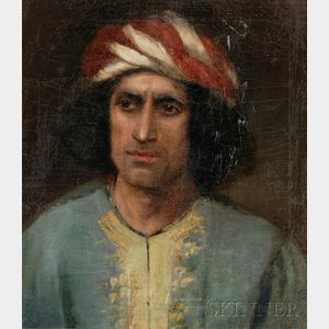 Framed 19th Century American School Oil on Canvas Portrait of a Man, Purportedly Antonio Corsi