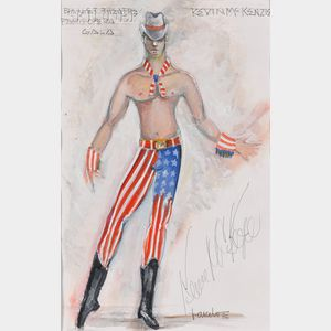 Randy Barceló (Cuban/American, 1946-1994)      Costume Design for Kevin McKenzie as a Cowboy in Piece d'Occasion