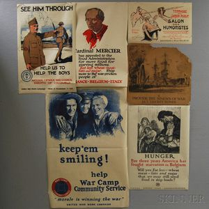 Eight Mostly U.S. WWI Lithograph Posters