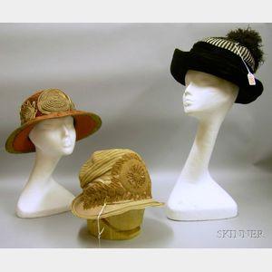 Three Edwardian Lady's Hats