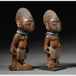 Pair of African Carved-Wood Ibeji Dolls